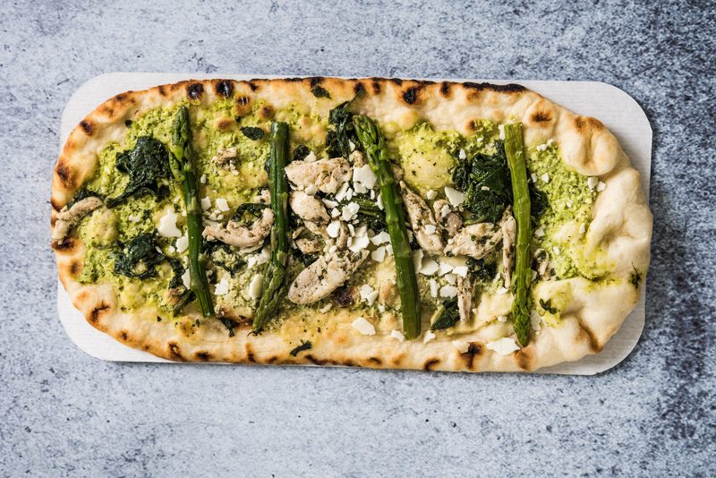 asparagus chicken pizza